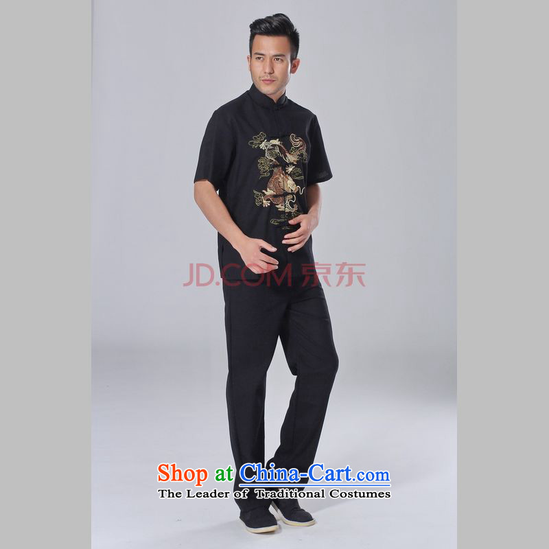 The elderly in the Broadband picking Tang replacing men summer cotton linen collar Chinese Tai Chi Man serving short-sleeve kit for larger men's kung fu Kit Black聽XL