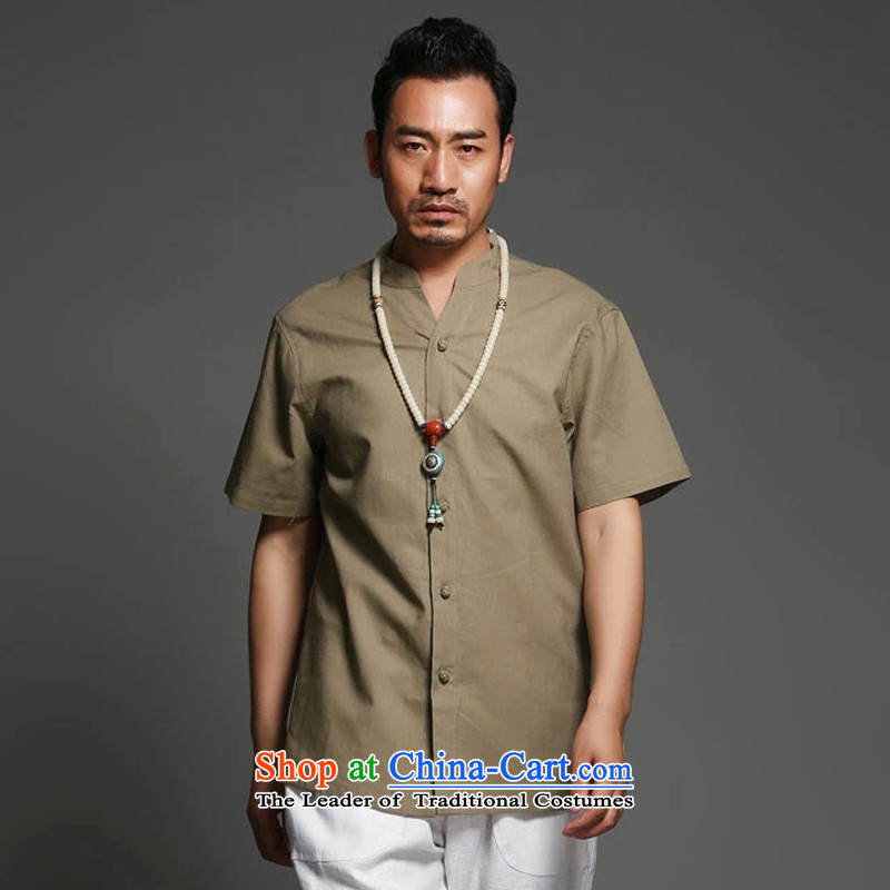 Renowned Chinese clothing cotton linen short-sleeved shirt and summer thin, China wind Men's Mock-Neck Shirt linen tray clip pure color of ethnic liberal male card in聽XL