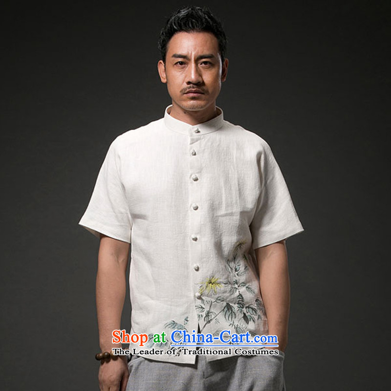 Renowned Chinese Services China wind men cotton linen short-sleeved shirt Tang dynasty men linen leisure print wave of ethnic white?3XL T-Shirt