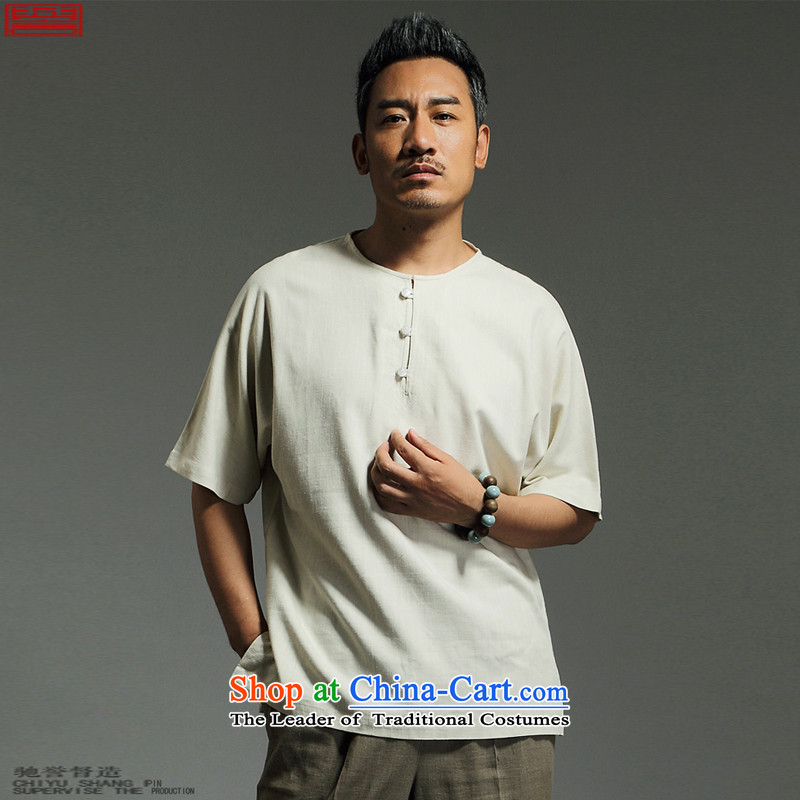 Renowned Chinese Services China wind summer men of nostalgia for the T-shirt linen�2015 Leisure T-shirt with round collar cotton linen short-sleeved T-shirt and pure color m White�3XL