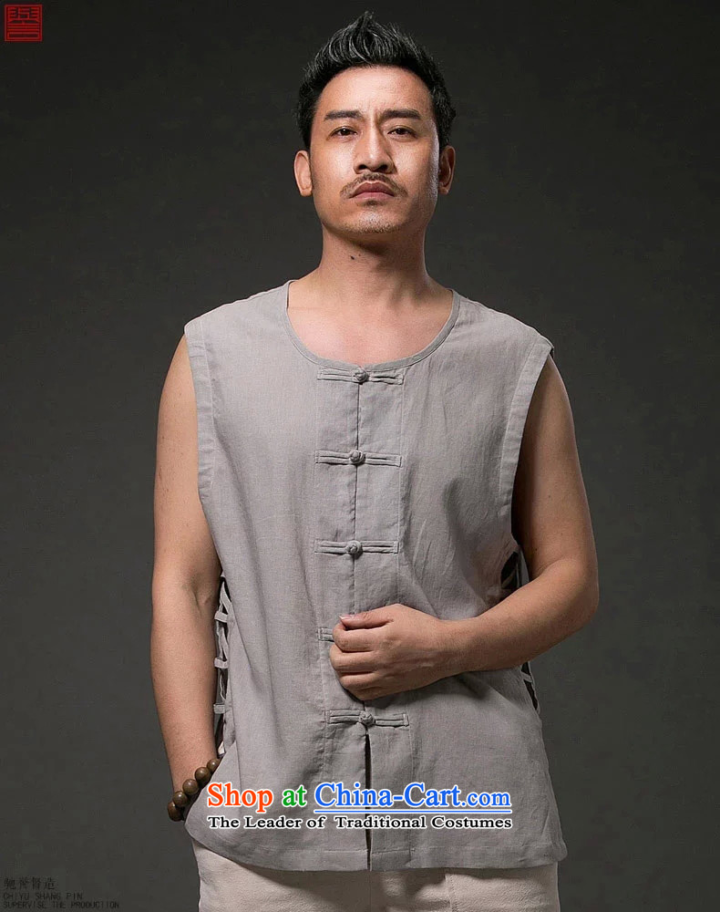 Renowned Chinese men vest summer clothing loose breathable vest and round-neck collar China wind white style robes Khan vest engraving Tang dynasty large whiteL picture, prices, brand platters! The elections are supplied in the national character of distribution, so action, buy now enjoy more preferential! As soon as possible.