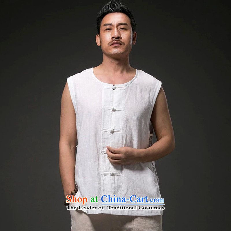 Renowned Chinese men vest summer clothing loose breathable vest and round-neck collar China wind white style robes Khan vest engraving Tang dynasty large white聽L