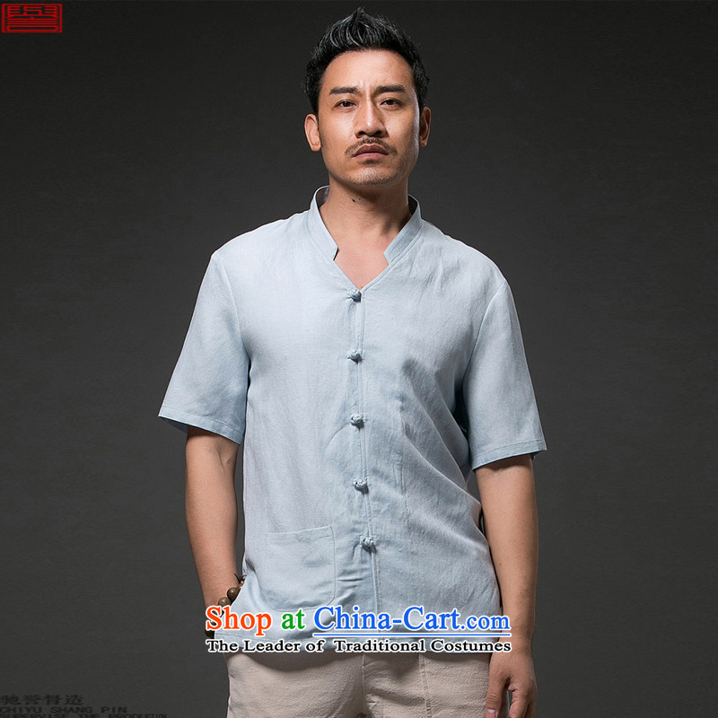 Renowned Chinese Services China wind 2015 Summer men linen shirt collar short-sleeved shirt cotton linen leisure half sleeve retro ethnic 2,005燲L