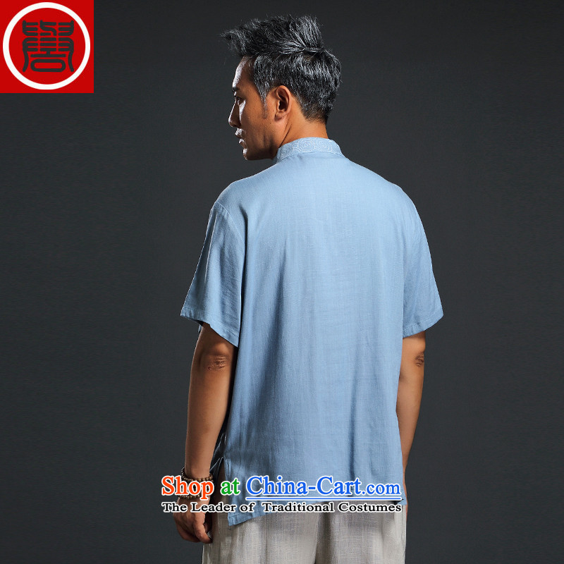 Renowned Chinese Services China wind 2015 Summer New Men linen short-sleeved shirt Sau San Men's Shirt thin cotton linen, Blue2XL Photo, prices, brand platters! The elections are supplied in the national character of distribution, so action, buy now enjoy more preferential! As soon as possible.