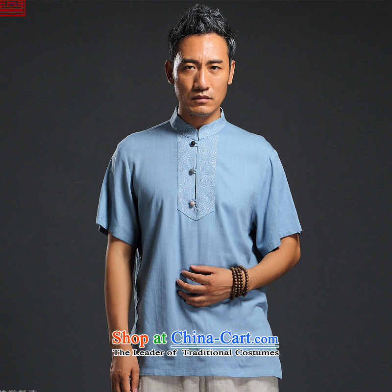 Renowned Chinese Services China wind 2015 Summer New Men linen short-sleeved shirt Sau San Men's Shirt thin cotton linen, Blue�L