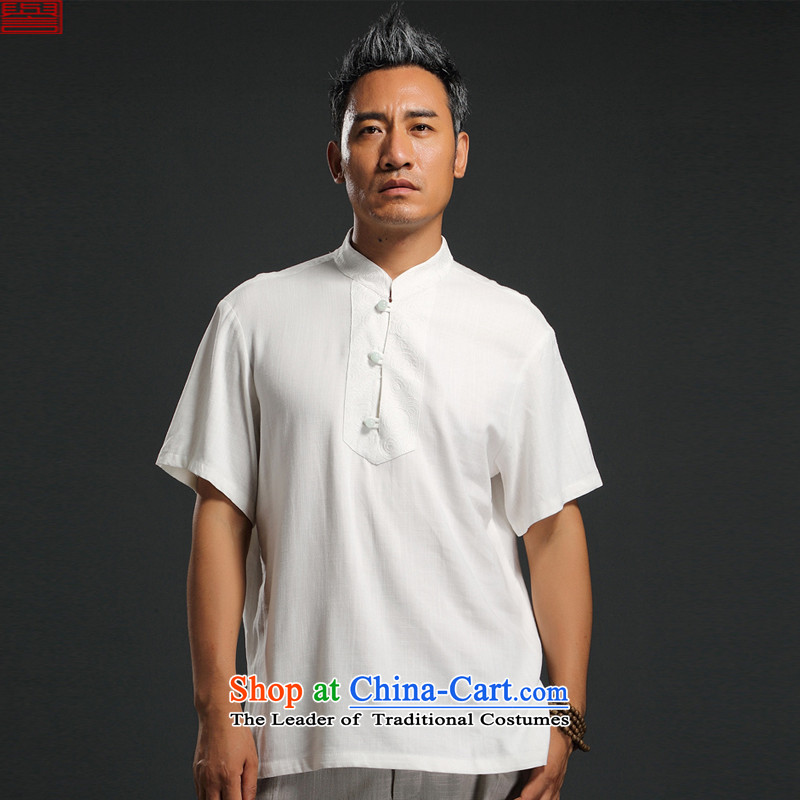 Renowned Chinese Services China wind 2015 Summer New Men linen short-sleeved shirt Sau San Men's Shirt cotton linen, Blue2XL, thin renowned (chiyu) , , , shopping on the Internet