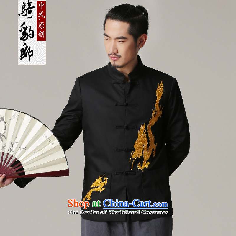 Jockeys Leopard Tang Dynasty who men in autumn and winter coats embroidered dragon older retro China wind collar Chinese men's national costume designer brands?XXXL black