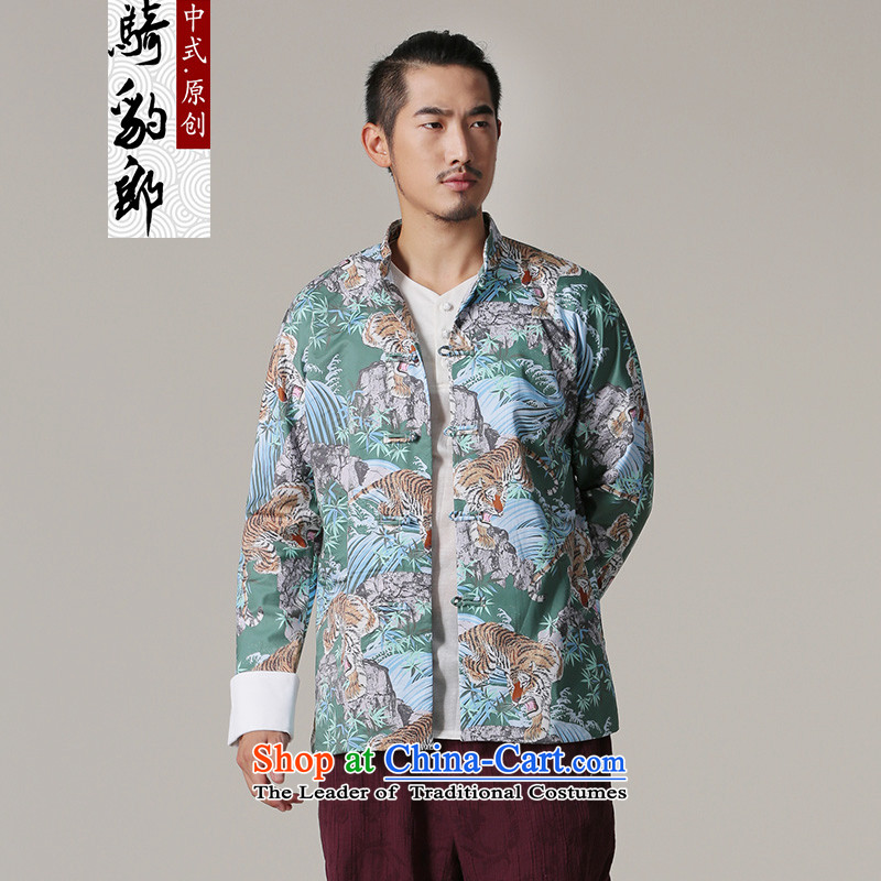 Jockeys Leopard jacket men who national costumes Tang dynasty autumn and winter new Chinese collar cotton printed Chinese high-end designer brands of men?s green