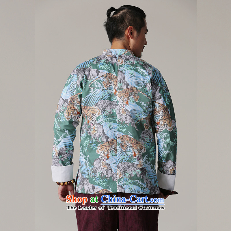 Jockeys Leopard jacket men who national costumes Tang dynasty autumn and winter new Chinese collar cotton printed Chinese high-end designer brands of men S, riding a leopard who green (QIBAOLANG) , , , shopping on the Internet