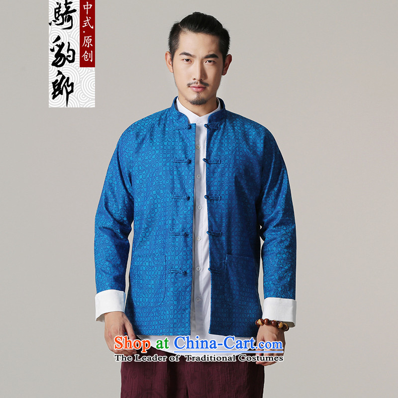 Jockeys Leopard health jacket Tang dynasty and the autumn and winter new national dress uniform ball-China wind Chinese Disc detained men's shirts retro designer brands?XXXL blue