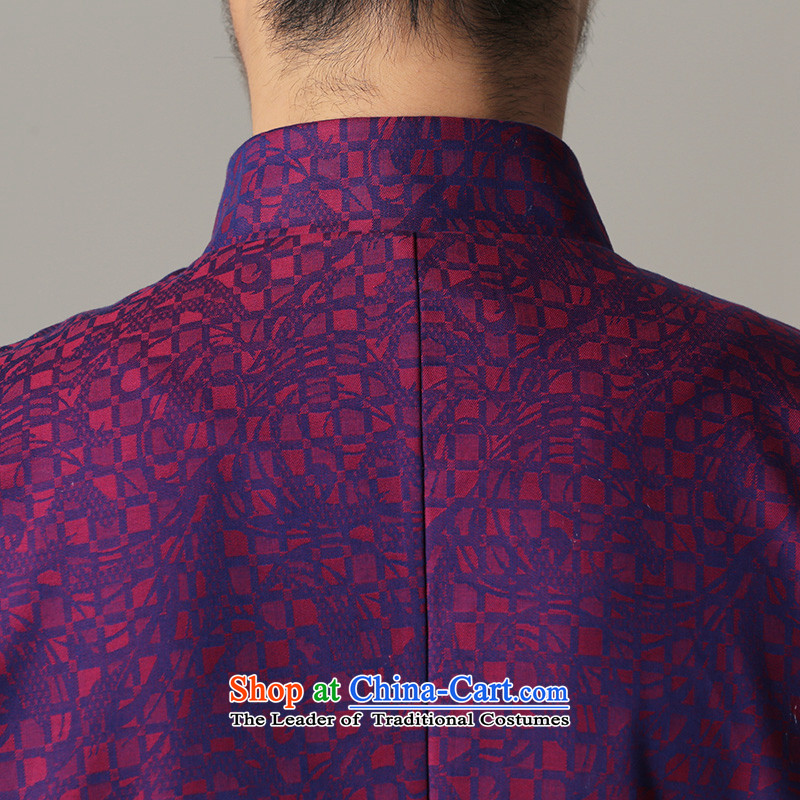 Jockeys Leopard health jacket Tang dynasty and the autumn and winter new national dress uniform ball-China wind Chinese Disc detained men's shirts retro designer brands blue XXXL, jockeys Leopard (QIBAOLANG) , , , shopping on the Internet