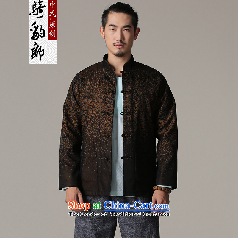 Jockeys Leopard Health Tang jackets 2015 autumn and winter season the New China wind Men's Mock-Neck Chinese leisure men designer brands with Father Brown?M