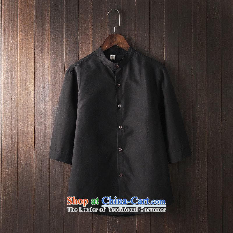 In the summer and autumn UYUK2015 men's shirts in Tang dynasty China wind seven men's shirts in the Cuff sleeves shirt collar Black?XL