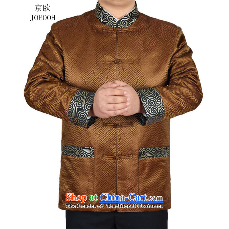 Beijing, in the autumn of the OSCE new elderly men long-sleeved jacket manually drive tang Chinese Wind and a mock-neck national costumes?XXL/185 Gold