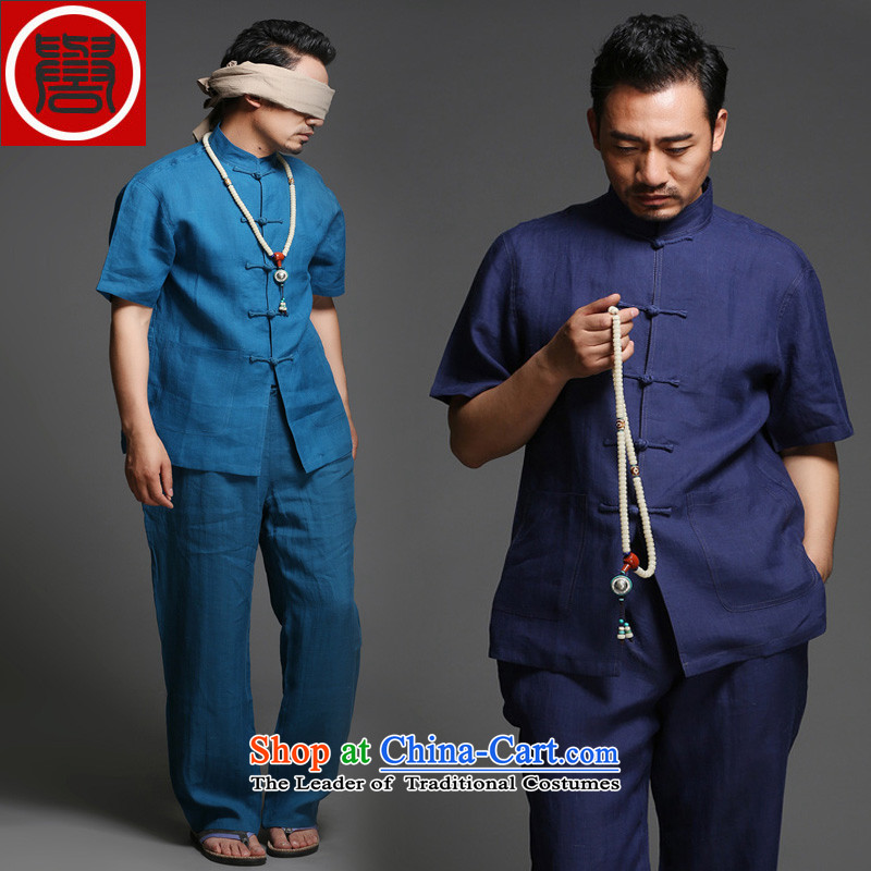 Renowned Chinese Tang dynasty to the Summer Package short-sleeved cotton linen Chinese improved services Han-ball-China wind linen shirt clip national 2,005�L Disc
