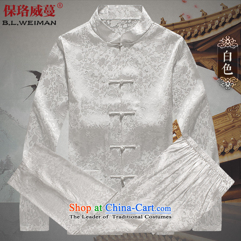 The Lhoba nationality Wei Overgrown Tomb autumn warranty silk Kit Man Tang dynasty long-sleeved summer of older persons in the sauna also silk Chinese men White?XXL