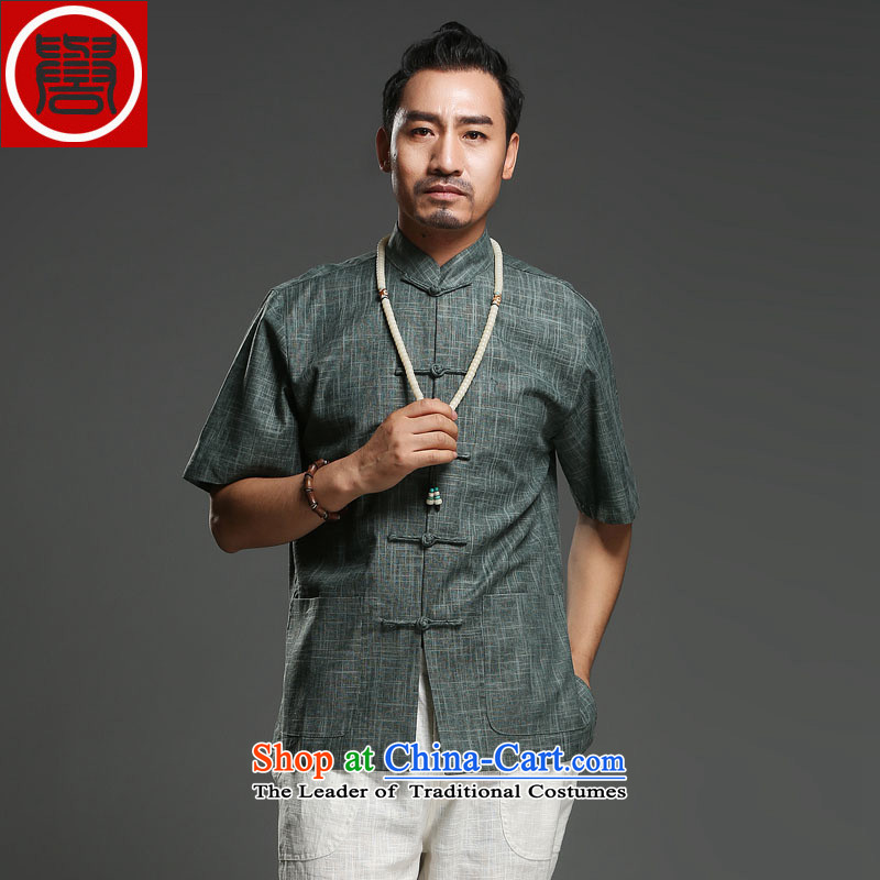 Renowned Chinese Services China wind leisure men short-sleeved Tang elderly men in half sleeve male summer Linen Dress Shirt 2015 Green?2XL
