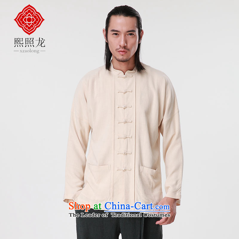 Hee-Snapshot Dragon 2015 autumn and winter new long-sleeved linen adhesive men's shirts Chinese collar manually tray clip Tang blouses m White聽L