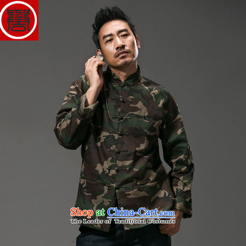 Renowned Chinese Services China wind camouflage Sau San Tong replacing men long-sleeved Chinese cotton linen collar stylish tray clip personality jacket autumn colors�3XL 059