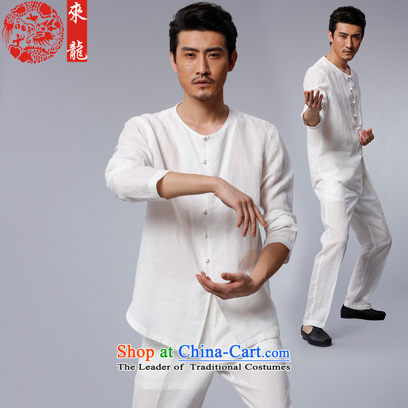 To replace?2015 Autumn Tang Lung New China wind men of ramie kung fu kit?15556?white?48