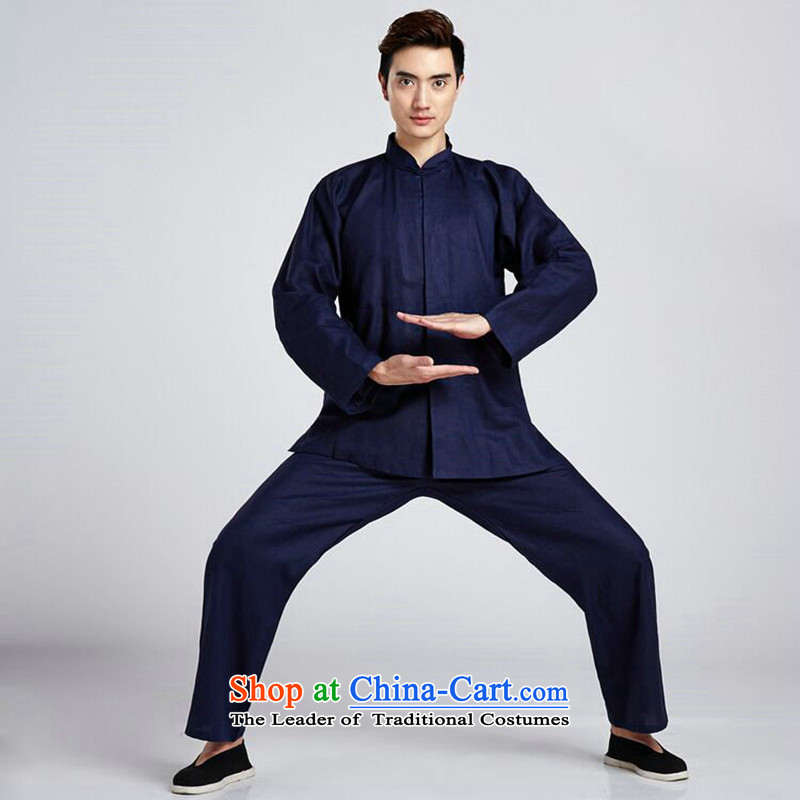 Find Sophie linen men Tang Dynasty Package China wind shirt collar Chinese Classical Chinese tunic Taegeuk Service Han-kung fu shirt?- 5 L