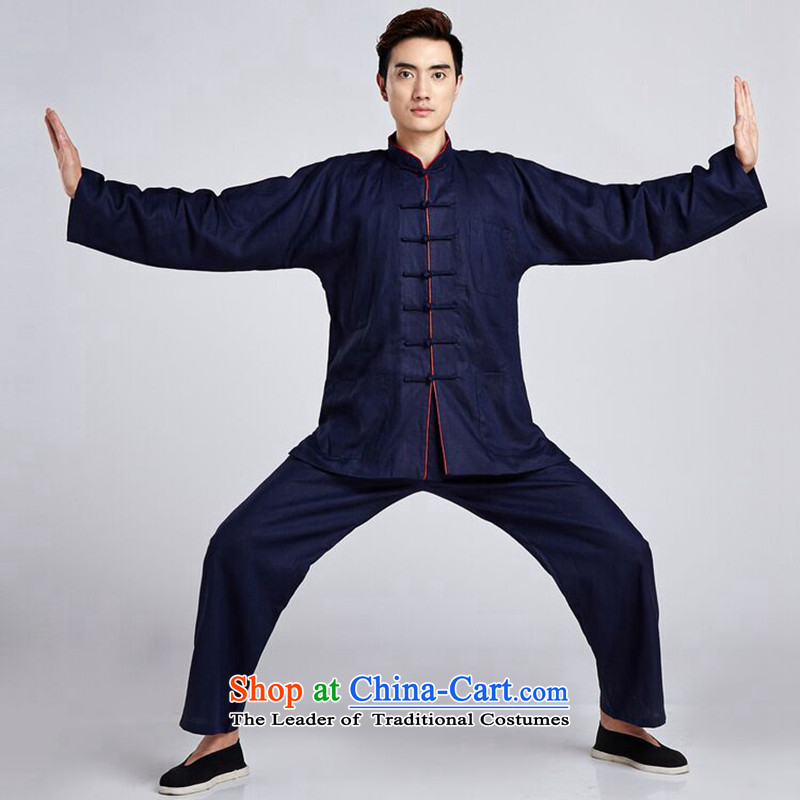 Dan smoke men Tang Dynasty Package Chinese tunic linen collar shirt ethnic Han-Chinese tunic Tai Chi Kung Fu shirt�- 2 3XL services