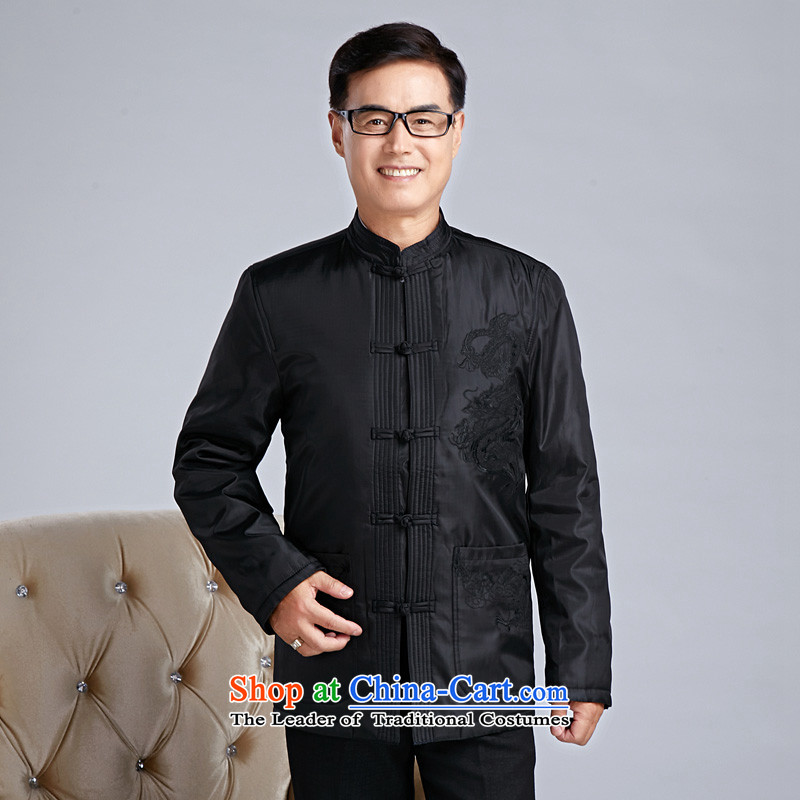 In accordance with the consultations my father jacket in Chinese Tang older men's national costumes ?t��a elderly men's jackets embroidered dragon B-108 black L for weight 100-130 catty