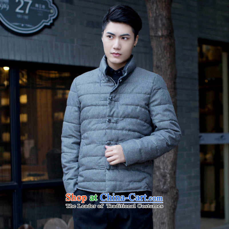 Floral men Tang dynasty solid color collar manually drive Chinese Wind and feather cotton coat Sau San jacket folder and autumn and winter gray燲L