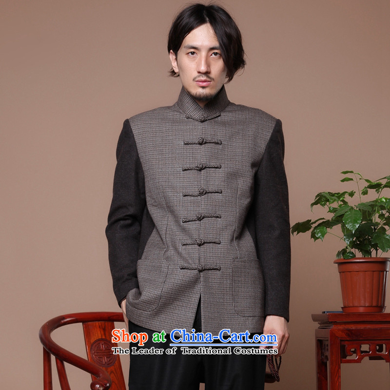 Figure in the autumn and winter flower older collar disc detained wool? men improved jacket Chinese Antique spell color jacket color photo of Tang?M