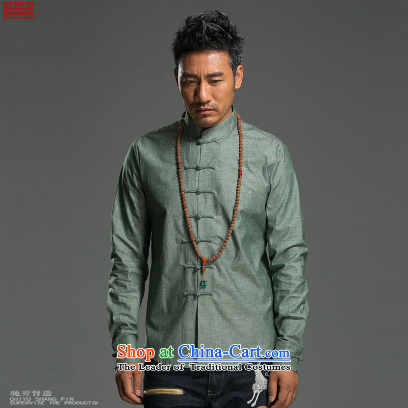 Renowned Chinese Services China wind long-sleeved shirt men of autumn and winter cotton linen flax shirts and T-shirt collar disc detained pure color Tang dynasty male and green?2XL