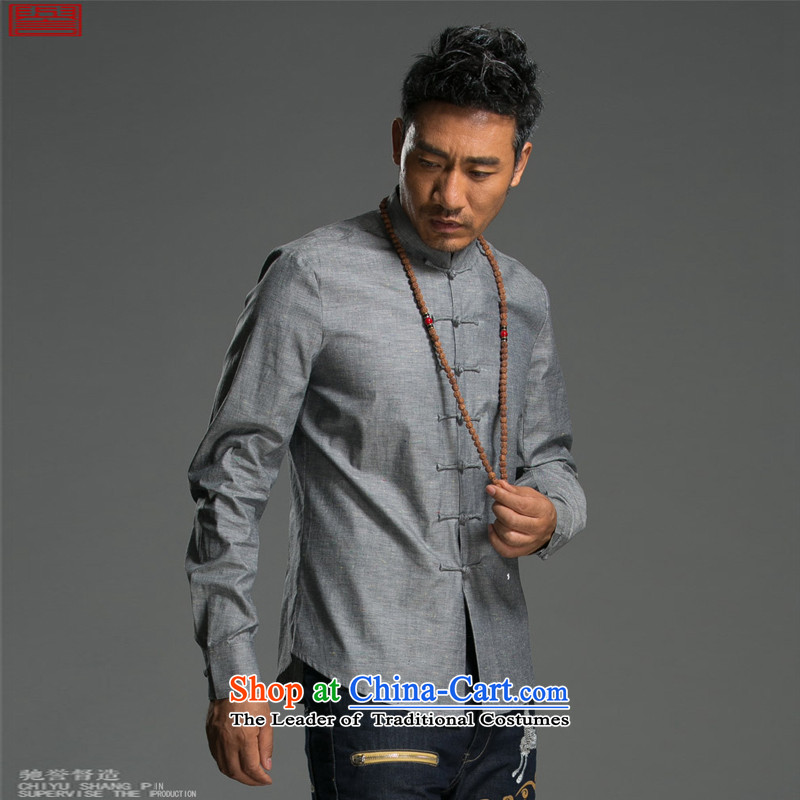 Renowned Chinese Services China wind long-sleeved shirt men of autumn and winter cotton linen flax shirts and T-shirt collar disc detained pure color Tang dynasty male and green聽2XL, renowned (chiyu) , , , shopping on the Internet