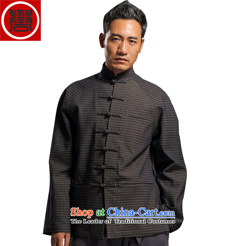 Renowned China wind embroidery autumn and winter Han-Tang Dynasty Male Male knitting cowboy shirt collar jacket Chinese tunic national dress jacket and light gray XXXL