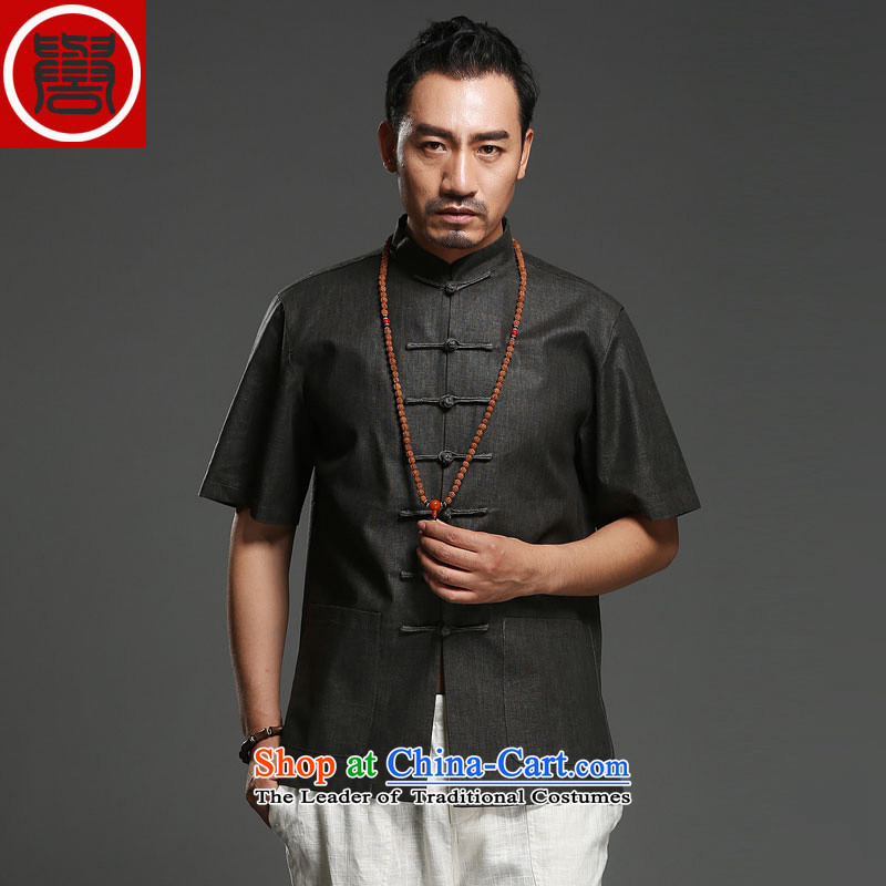 Renowned Chinese Services China wind men short-sleeved shirt Tang dynasty linen summer of ethnic Chinese pure colors in the men's older half sleeve 2015 carbon 2XL