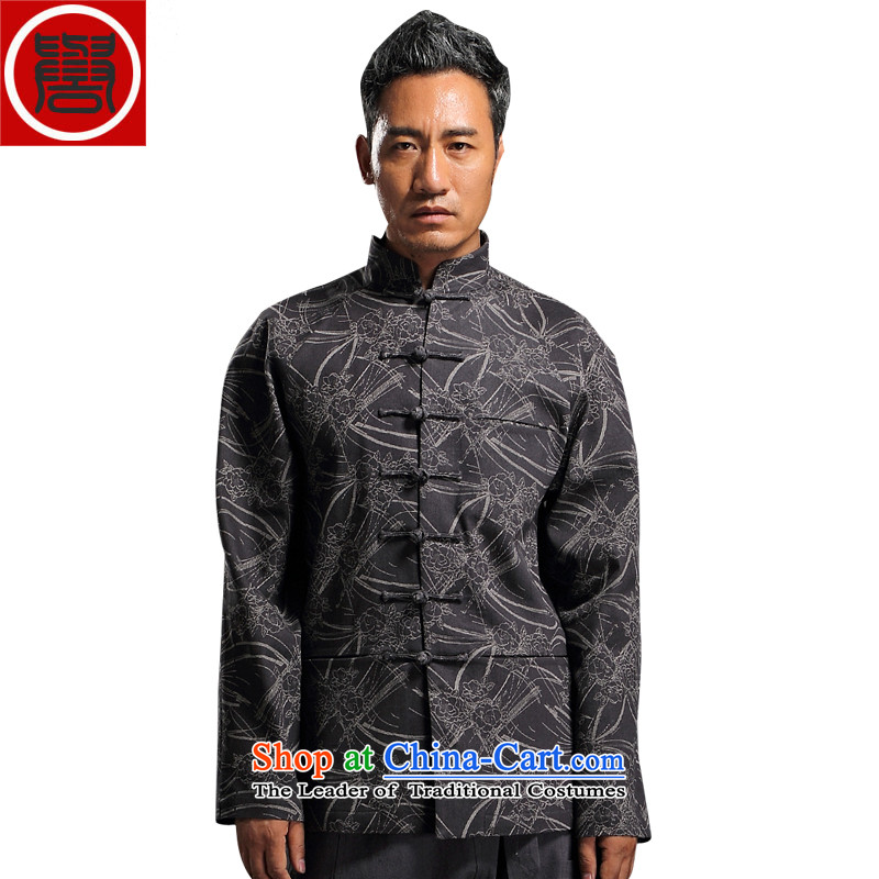 Renowned China wind embroidery autumn and winter Han-Tang Dynasty Male Male knitting cowboy shirt collar jacket Chinese tunic national dress jacket and light gray XL