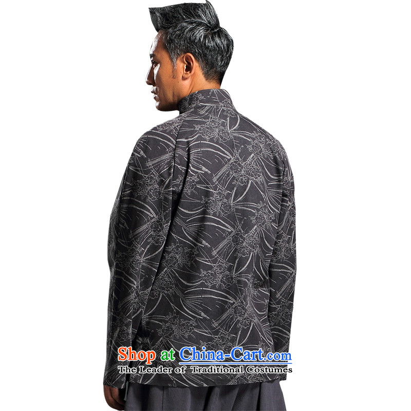 Renowned China wind embroidery autumn and winter Han-Tang Dynasty Male Male knitting cowboy shirt collar jacket Chinese tunic national dress jacket and light gray聽XL, renowned (CHIYU) , , , shopping on the Internet
