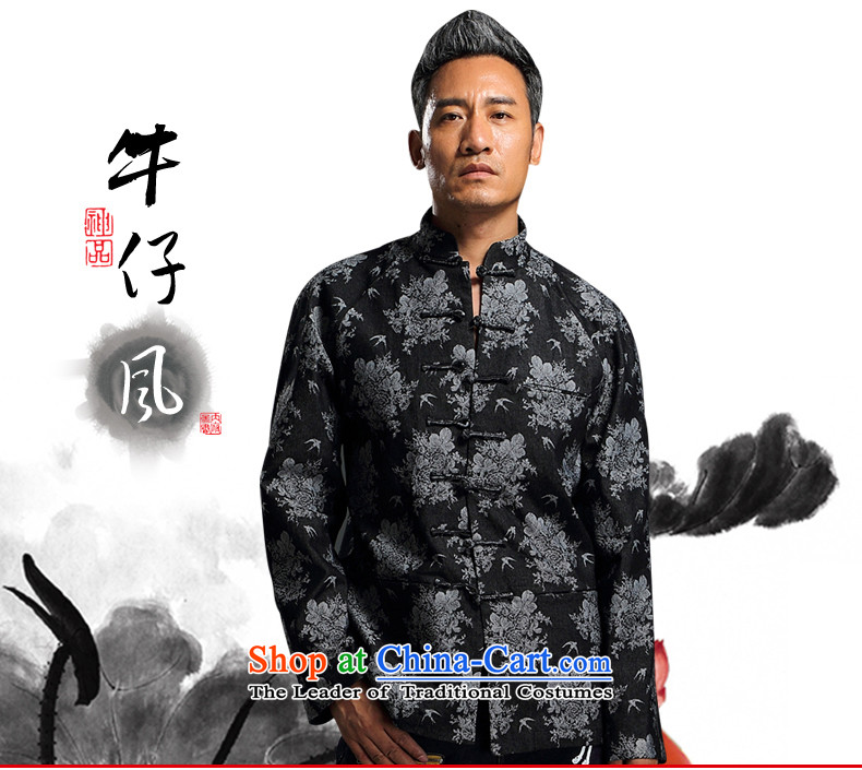 Renowned China wind embroidery autumn and winter Han-Tang Dynasty Male Male knitting cowboy shirt collar jacket Chinese tunic national dress jacket and black XXXL picture, prices, brand platters! The elections are supplied in the national character of distribution, so action, buy now enjoy more preferential! As soon as possible.