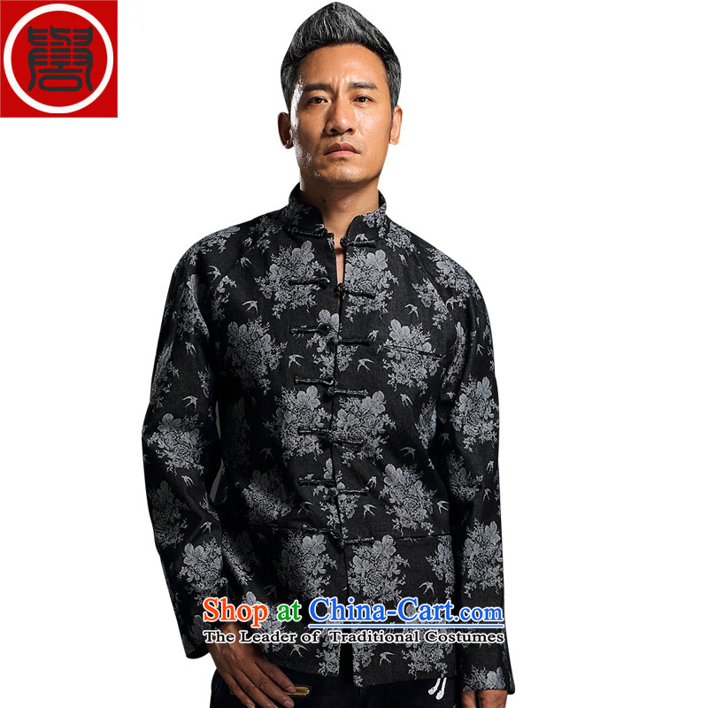 Renowned China wind embroidery autumn and winter Han-Tang Dynasty Male Male knitting cowboy shirt collar jacket Chinese tunic national dress jacket and black聽XXXL