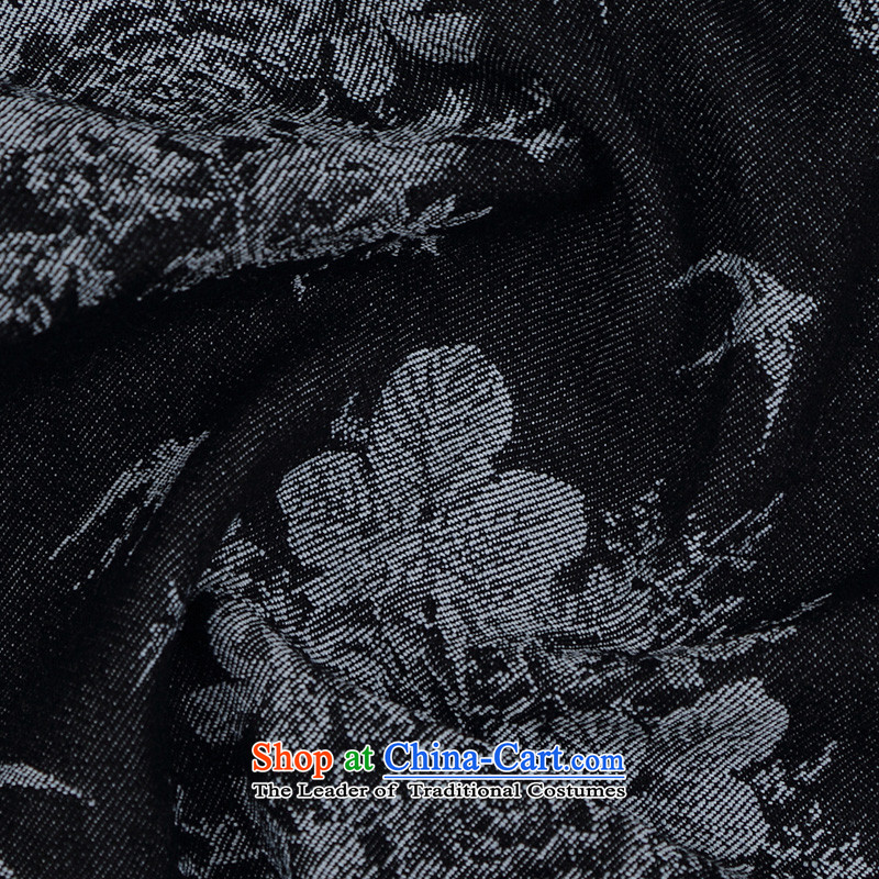 Renowned China wind embroidery autumn and winter Han-Tang Dynasty Male Male knitting cowboy shirt collar jacket Chinese tunic national dress jacket and black XXXL, renowned (CHIYU) , , , shopping on the Internet