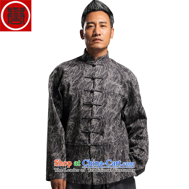 Renowned China wind embroidery autumn and winter Han-Tang Dynasty Male Male knitting cowboy shirt collar jacket Chinese tunic national dress jacket and gray燲XL