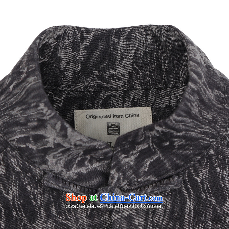 Renowned China wind embroidery autumn and winter Han-Tang Dynasty Male Male knitting cowboy shirt collar jacket Chinese tunic national dress jacket men聽renowned gray XXL, (CHIYU) , , , shopping on the Internet