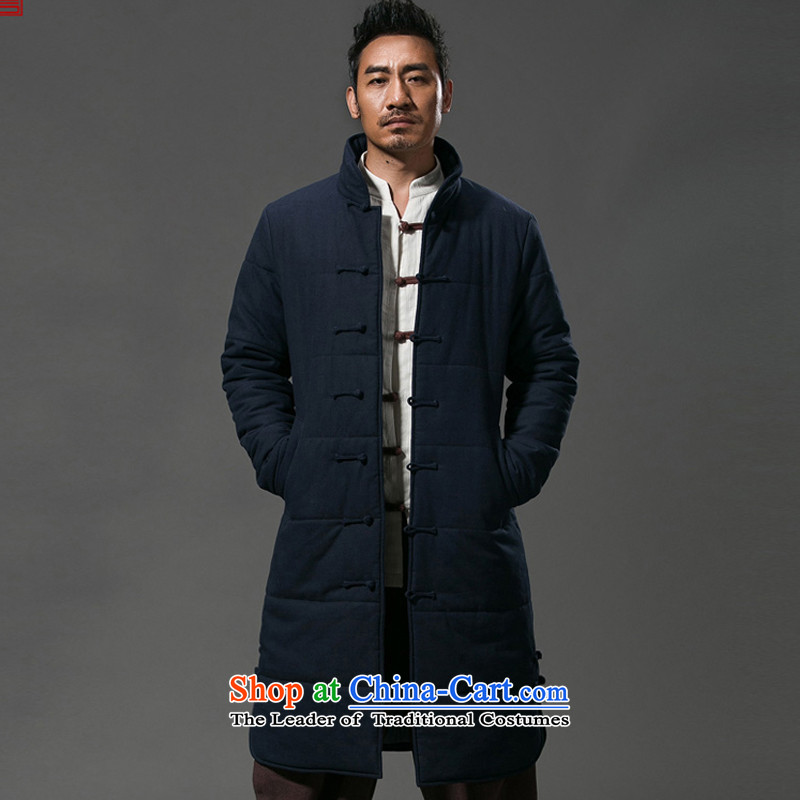 Renowned Chinese services for winter coats men casual single row tie china wind-long thick cotton men windbreaker cotton coat jacket herbs extract cotton coat and deep blue coat聽XL