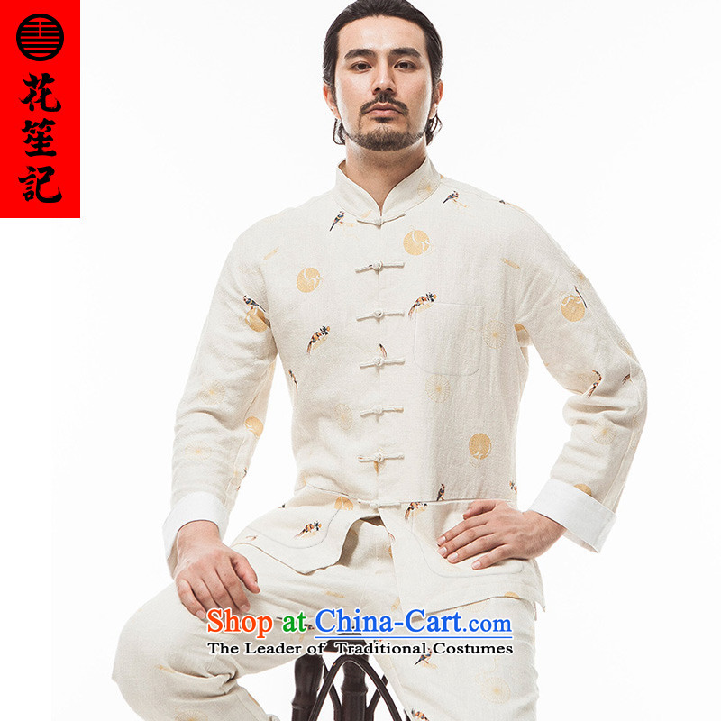 His Excellency spend a note national retro China wind Kam Pheasant Sau San Tong replacing Men's Mock-Neck long-sleeved stylish stamp Tang dynasty in the autumn beige _M_