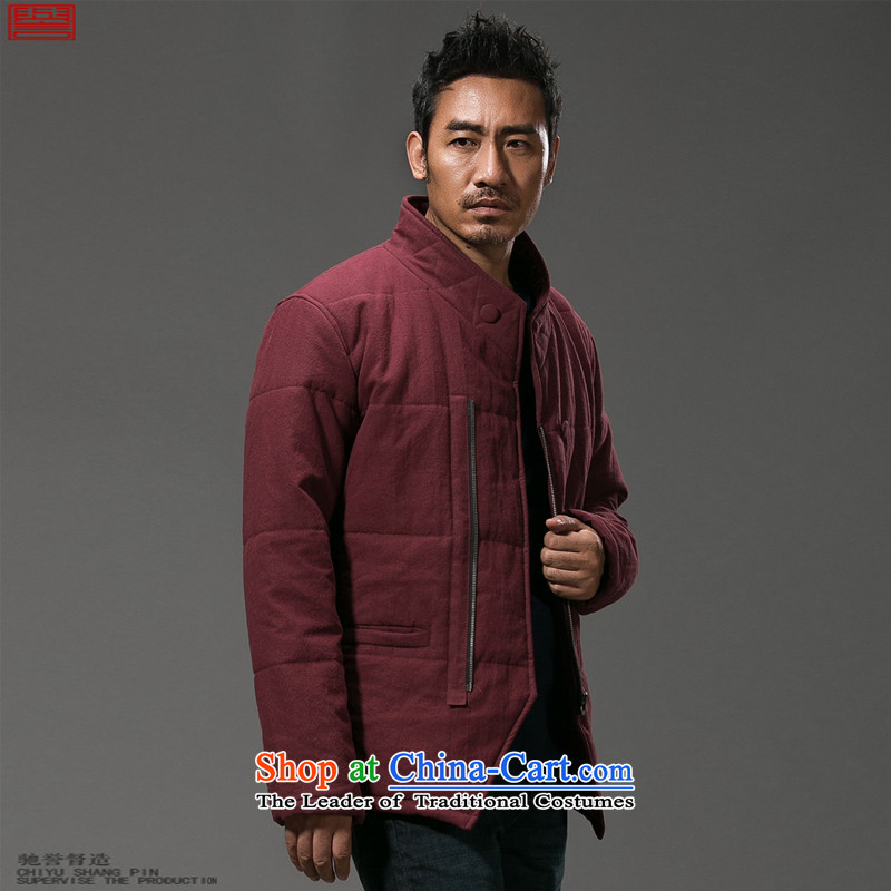 Renowned Chinese Services China wind-thick cotton linen men of Men's Mock-Neck Tang dynasty cotton coat Chinese robe winter coats male and 59 wine red燲L