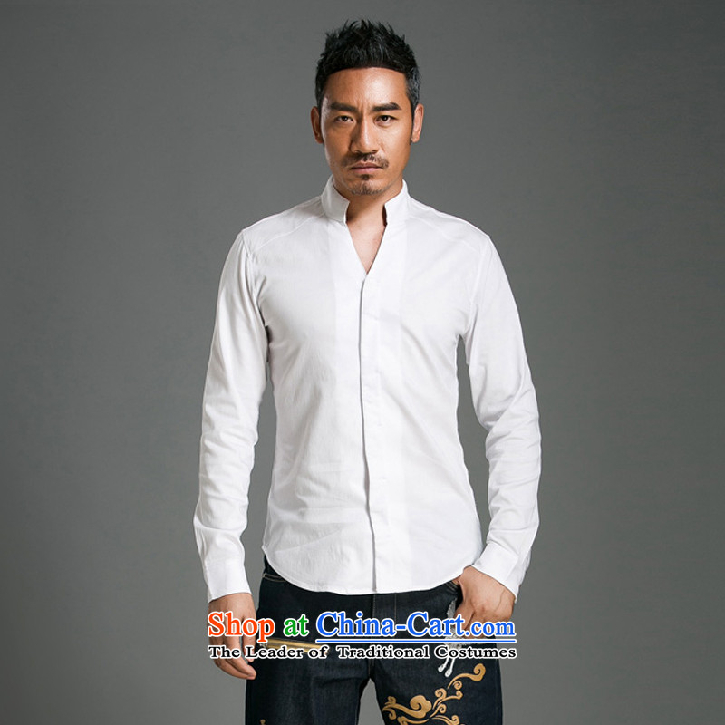 Renowned Chinese Services China wind men's shirts long-sleeved Sau San V-Neck Solid Color men spring and fall cotton linen tunic shirt and Tang dynasty 056 minimalist white聽2XL