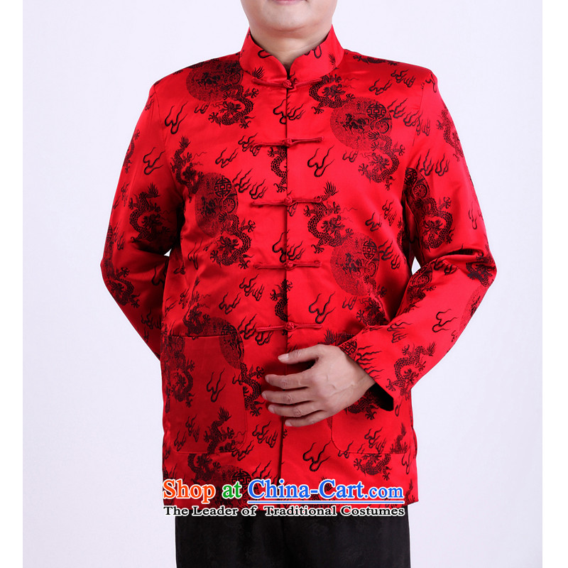 The autumn and winter new elderly father Tang dynasty replacing elderly persons in Tang Dynasty spring and autumn clothing life long-sleeved jacket is detectable.?170/spring and autumn, red