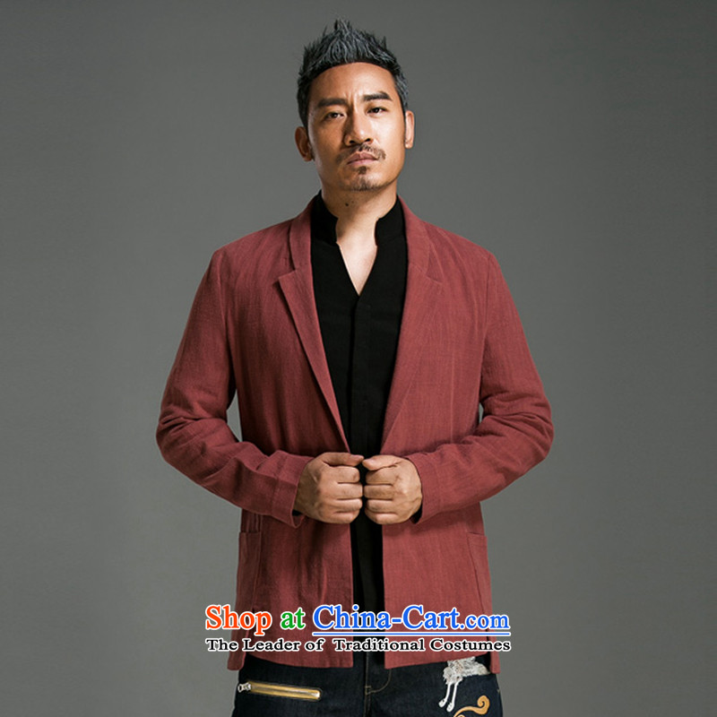 Renowned Chinese serving original China wind men suit Sau San cotton linen Chinese men casual pure colors to suit the spring and fall jacket Male 57 wine red聽2XL