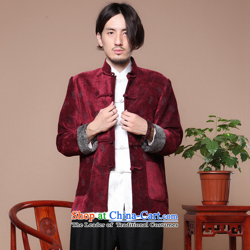 Take the figure of older men of nostalgia for the Chinese Tang dynasty long-sleeved improved collar disc detained letters for autumn and winter coats? gross shirt Magenta?XL