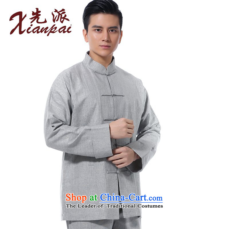 The dispatch of new products in the summer load Tang men Black Linen long-sleeved top Chinese literary van new retro collar up Chinese wind spring and summer youth single yi dress coating linen long-sleeved clothing?3XL .
