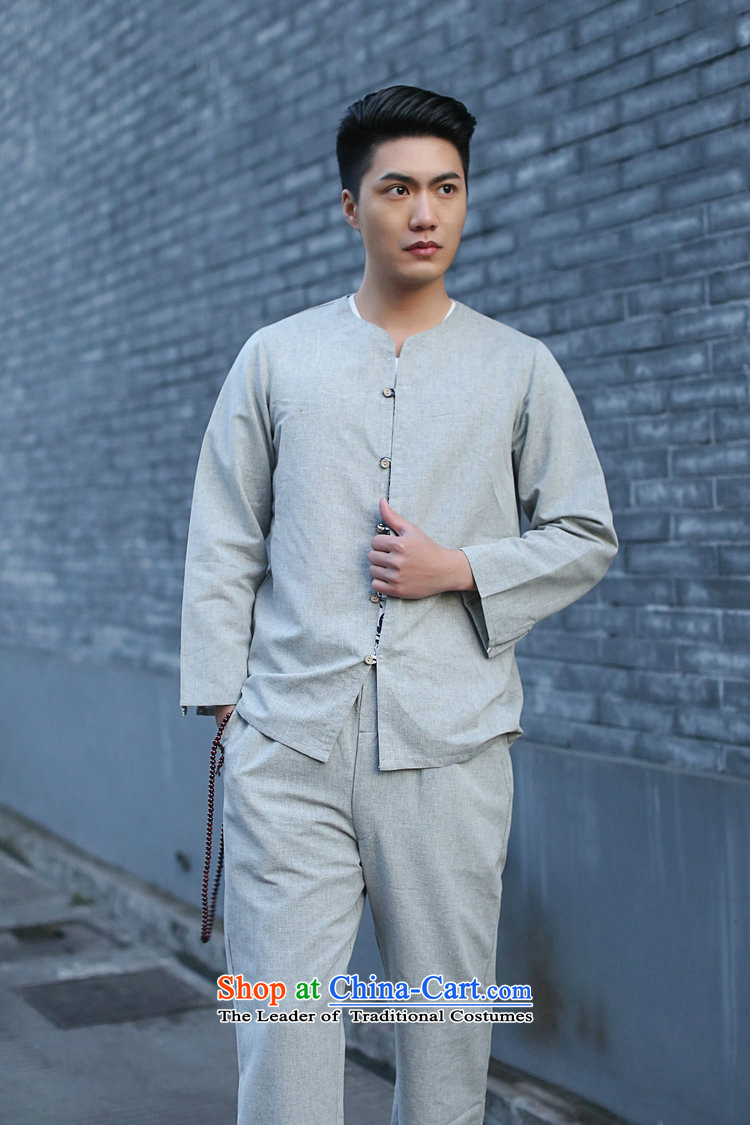 It New Men Tang Dynasty Package Chinese small cotton linen collar retro ethnic 7 cuff kung fu shirt Gray聽2XL Photo, prices, brand platters! The elections are supplied in the national character of distribution, so action, buy now enjoy more preferential! As soon as possible.