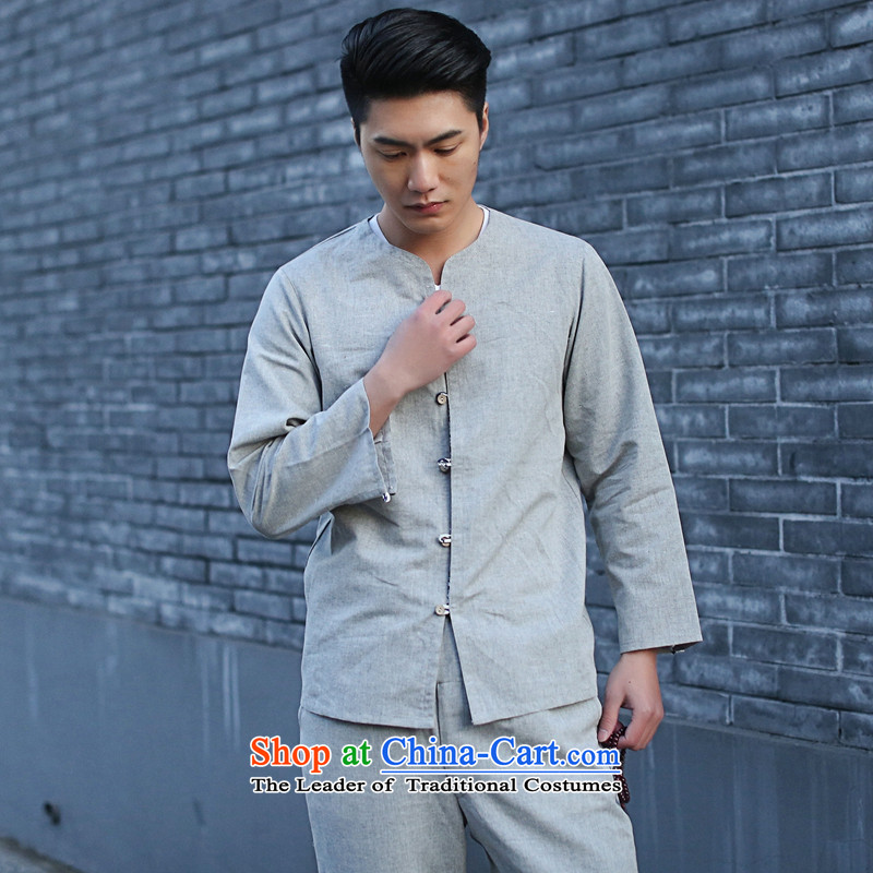 It New Men Tang Dynasty Package Chinese small cotton linen collar retro ethnic 7 cuff kung fu shirt Gray?2XL